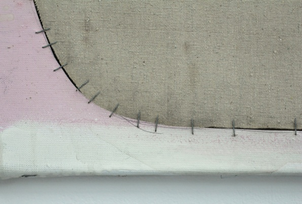 Jim Lee USA, Junior Pink, (Detail), 2013, acrylic & oil on canvas and linen with staples, 40 x 51 cm