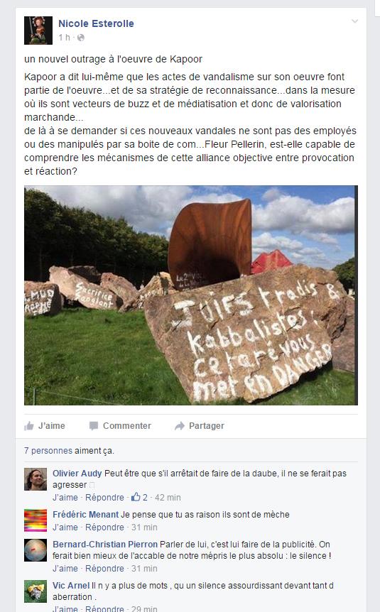 capture d'écran de la page facebook de Nicole Esterolle