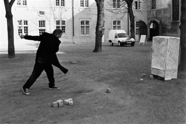 Jimmy Durham, Stoning the Refrigerator, 1996. Performance